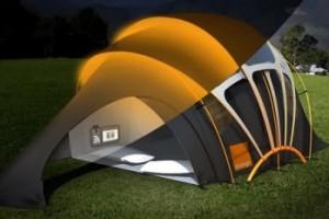 Палатка с интегрированной солнечной панелью